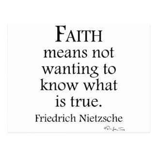 Glaube definiert von Nietzsche Postkarte