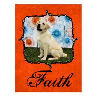 Glaube - gelbes Labrador Postkarte