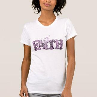 Glaube in den lila strukturierten Buchstaben T-Shirt