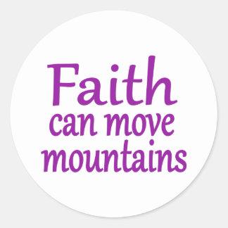 Glaube kann Berge bewegen Runder Aufkleber