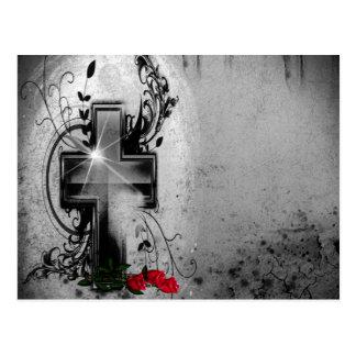 Glaube und Rosen-gotische Hochzeits-Mitteilung Postkarte