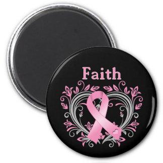 Glauben-Brustkrebs-Bewusstseins-Band Runder Magnet 5,1 Cm