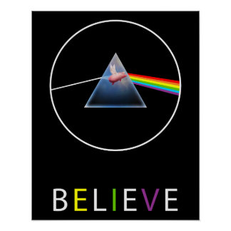 Glauben-Fliegen Schwein durch Prisma-Entwurf Poster