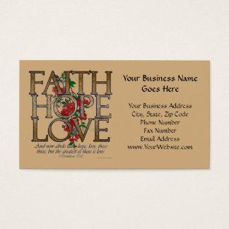 Glauben-Hoffnungs-Liebe, Blumenentwurf mit Visitenkarte