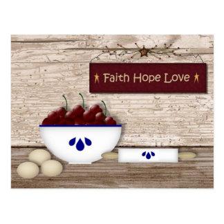 Glauben-Hoffnungs-Liebe-Rezept-Karte Postkarte