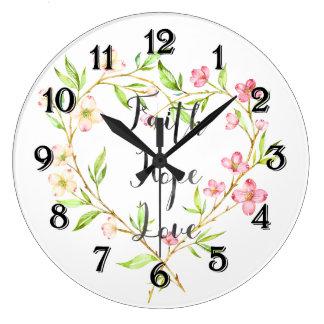 Glauben-Hoffnungs-Liebe-Rosawatercolor-Blumenherz Große Wanduhr