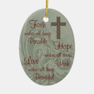 Glauben-Hoffnungs-u. Liebe-Oval-Verzierung Keramik Ornament