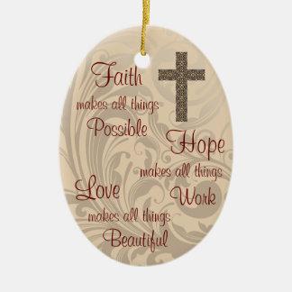 Glauben-Hoffnungs-u. Liebe-ovales Keramik Ornament