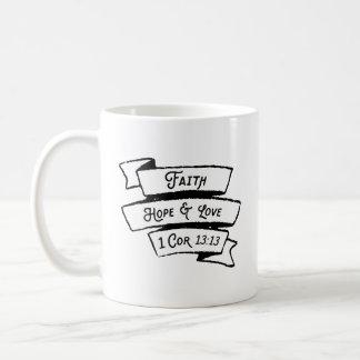 Glauben-Hoffnungs-und Liebe-Korinther-Bibel-Vers Kaffeetasse