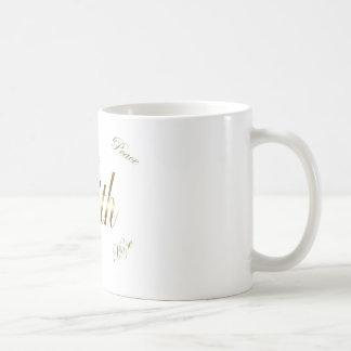 Glauben-Liebe-Hoffnungs-Friedensgoldtone Kaffeetasse