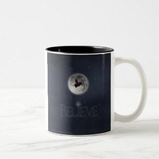 Glauben-Nächtliche Fliegen-Schwein-Tasse Zweifarbige Tasse