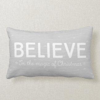 Glauben Sie an die Magie von Weihnachten • graues Lendenkissen