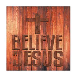 Glauben Sie an Jesus-Imitat-hölzernen Entwurf auf Holzleinwand