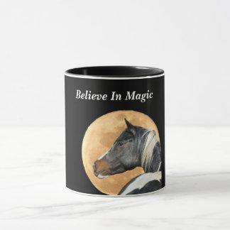 Glauben Sie an magische Kaffee-Tasse mit Pferd und Tasse