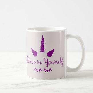 Glauben Sie an selbst lila Unicorn-Tasse Kaffeetasse