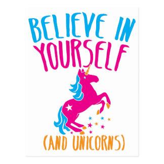 Glauben Sie an selbst (und Einhörner) Postkarte