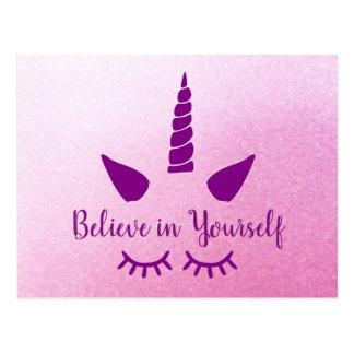 Glauben Sie an selbst Unicorn-rosa lila Postkarte