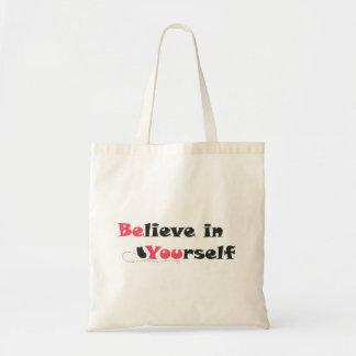 Glauben Sie an selbst Zitat-Taschen-Tasche Tragetasche