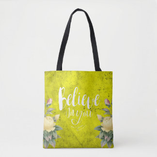 Glauben Sie an Sie - Tasche - Tasche - gelbe Rose