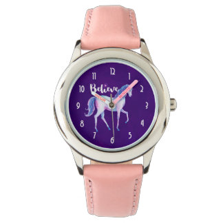 Glauben Sie mit Einhorn in den PastellAquarellen Armbanduhr