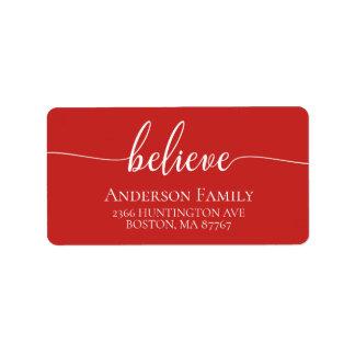 Glauben Sie rotem Feiertags-Adressen-Etikett Adressaufkleber