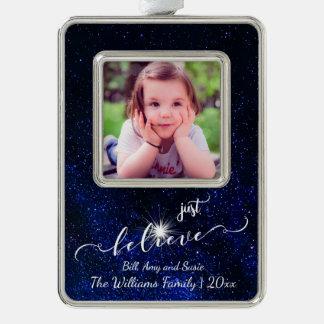 Glauben Sie Starry Nachthimmel-Foto und Rahmen-Ornament Silber
