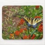 Glauben Sie w/Butterfly u. Blumen Mauspad