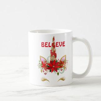 Glauben Sie WeihnachtsEinhorn Kaffeetasse