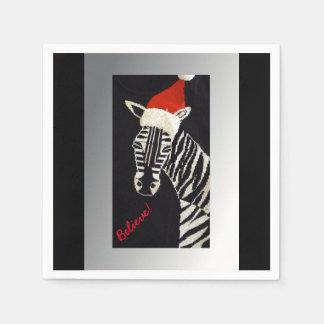 Glauben Sie! WeihnachtsZebra mit roter Servietten