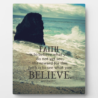 Glaubenzitatstrand-Ozeanwelle Fotoplatte