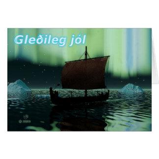 Gleðileg Jól - Viking-Schiff und Nordlichter Karte
