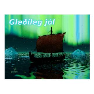 Gleðileg Jól - Viking-Schiff und Nordlichter Postkarte