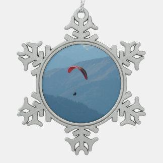 Gleitschirm-Gleitschirmfliegen-Para-Gleiten Schneeflocken Zinn-Ornament