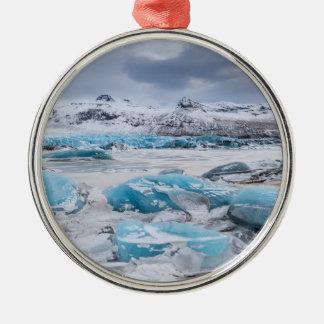 Gletscher-Eislandschaft, Island Rundes Silberfarbenes Ornament
