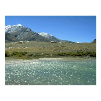 Gletscher fütterte See, Ladakh, Indien Postkarte