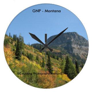 Gletscher-Nationalpark - Herbstfarben - Montana Große Wanduhr