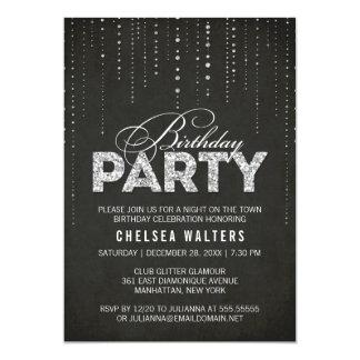 Glitter-Blick-Geburtstags-Party Einladung