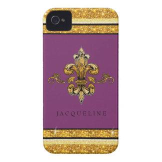 Glitter-Blick-Imitat-Goldschwarz-Franzose-Lilie Case-Mate iPhone 4 Hüllen