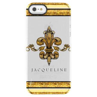 Glitter-Blick-Imitat-Goldschwarz-Franzose-Lilie Durchsichtige iPhone SE/5/5s Hülle