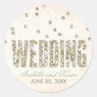 Glitter-Blickconfetti-Hochzeits-Aufkleber