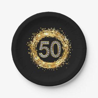 Glitter Bling Confetti | der Diamant-Zahl-50 Gold Pappteller