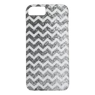 Glitter Bling funkelnd Zickzack Muster (Silber) iPhone 8/7 Hülle
