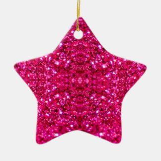Glitter des heißen Rosas Keramik Ornament