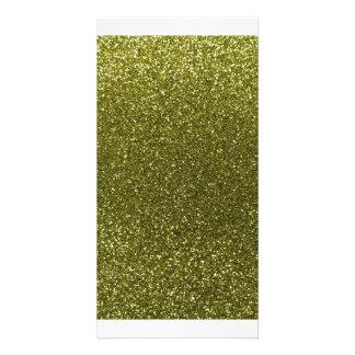 Glitter des olivgrünen Grüns Individuelle Foto Karten
