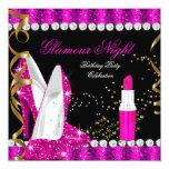 Glitter-Glamour-heißes Rosa-Goldschwarz-Geburtstag Personalisierte Einladungen