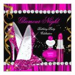 Glitter-Glamour-Nachttiefrosa Goldschwarz-Party 2 Individuelle Ankündigungen