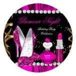 Glitter-Glamour-Nachttiefrosa Goldschwarz-Party a Einladungskarten
