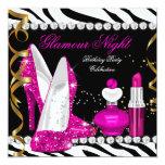 Glitter-Glamour-Nachtzebra-tiefrosa Goldschwarzes Personalisierte Ankündigungen