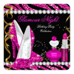Glitter Glamour Night Zebra Deep Pink Gold Black 2 Personalized Invite