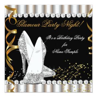 Glitter-Glamour-Party-Nachtsilber-Goldhohe Ferse Quadratische 13,3 Cm Einladungskarte